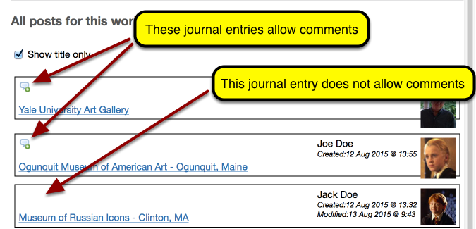 If a journal allows comments, it will have a comment icon in the upper left of the list.