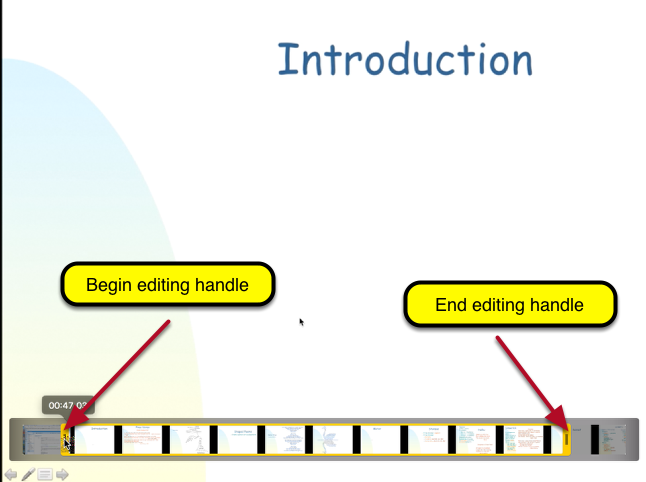 Adjust the beginning and end handles to isolate the part of the recording you want to save