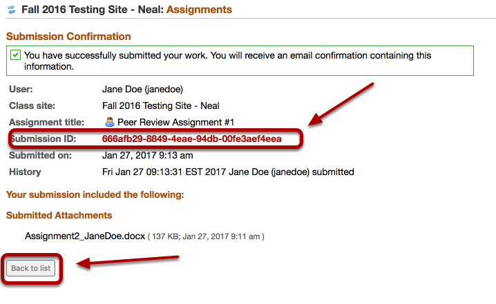 (Part 1) - Example of the Assignment submittal confirmation page - Click Back To List