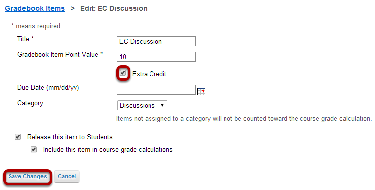 Setting Extra Credit (EC) at the item level.
