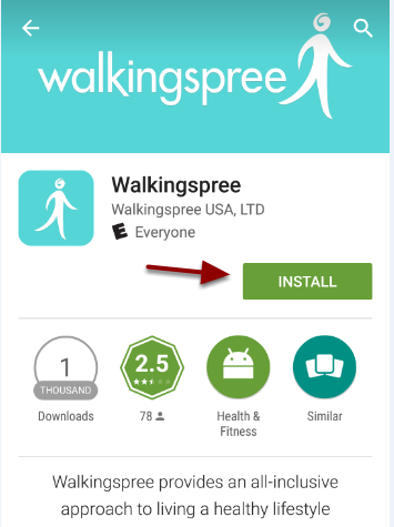 Android - Find Walkingspree App in Google Play - Install