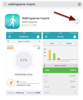 iOS - Search App Store for Walkingspree Inspire - Download/Install