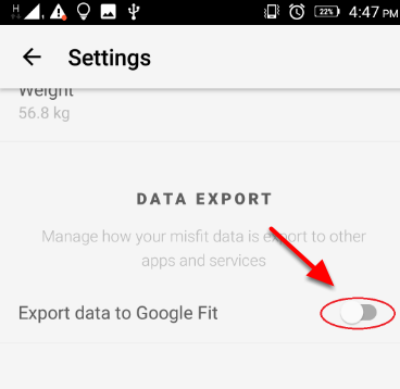 Export Data to Google Fit