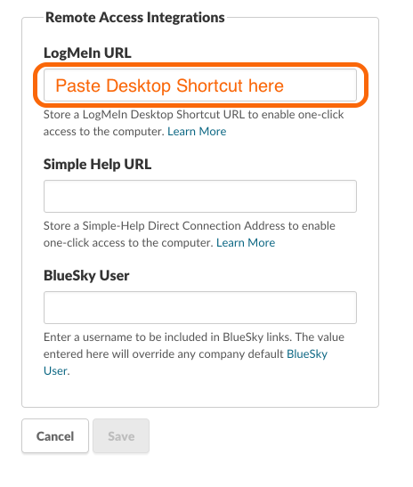 Paste the LogMeIn URL to the Remote Access Field