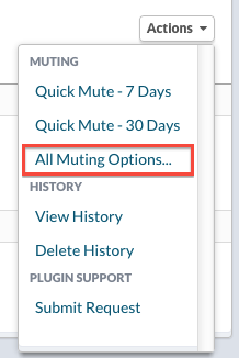 Use the Plugin's Actions menu to select Muting Options: