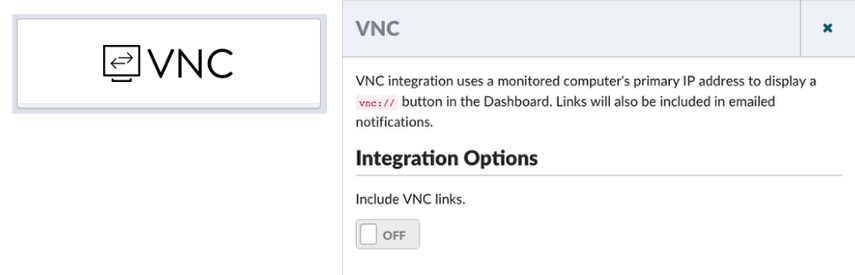 Enable the VNC Checkbox to include vnc:// urls in emails, and on the Dashboard
