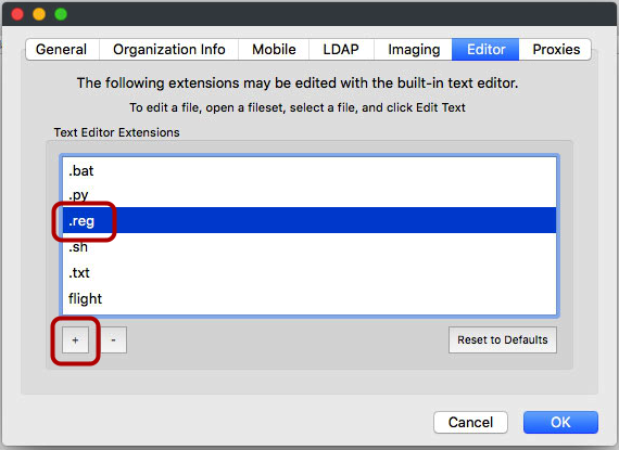 *Enabling .reg files for editing in the FileWave admin