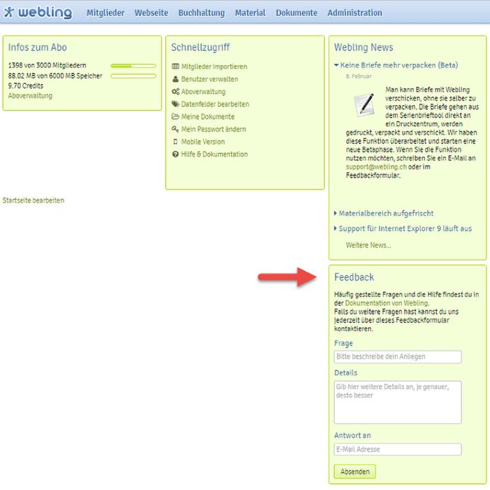 Webling Kontaktformular