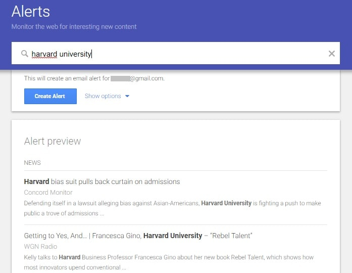 "google alert set for ""harvard"" keyword"
