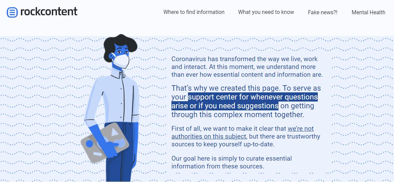Rock Content's page on coronavirus