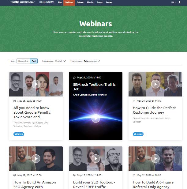 semrush webinar's page