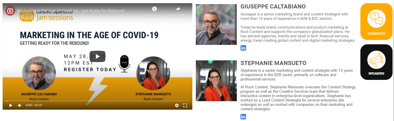 biography of the speakers on the webinar page