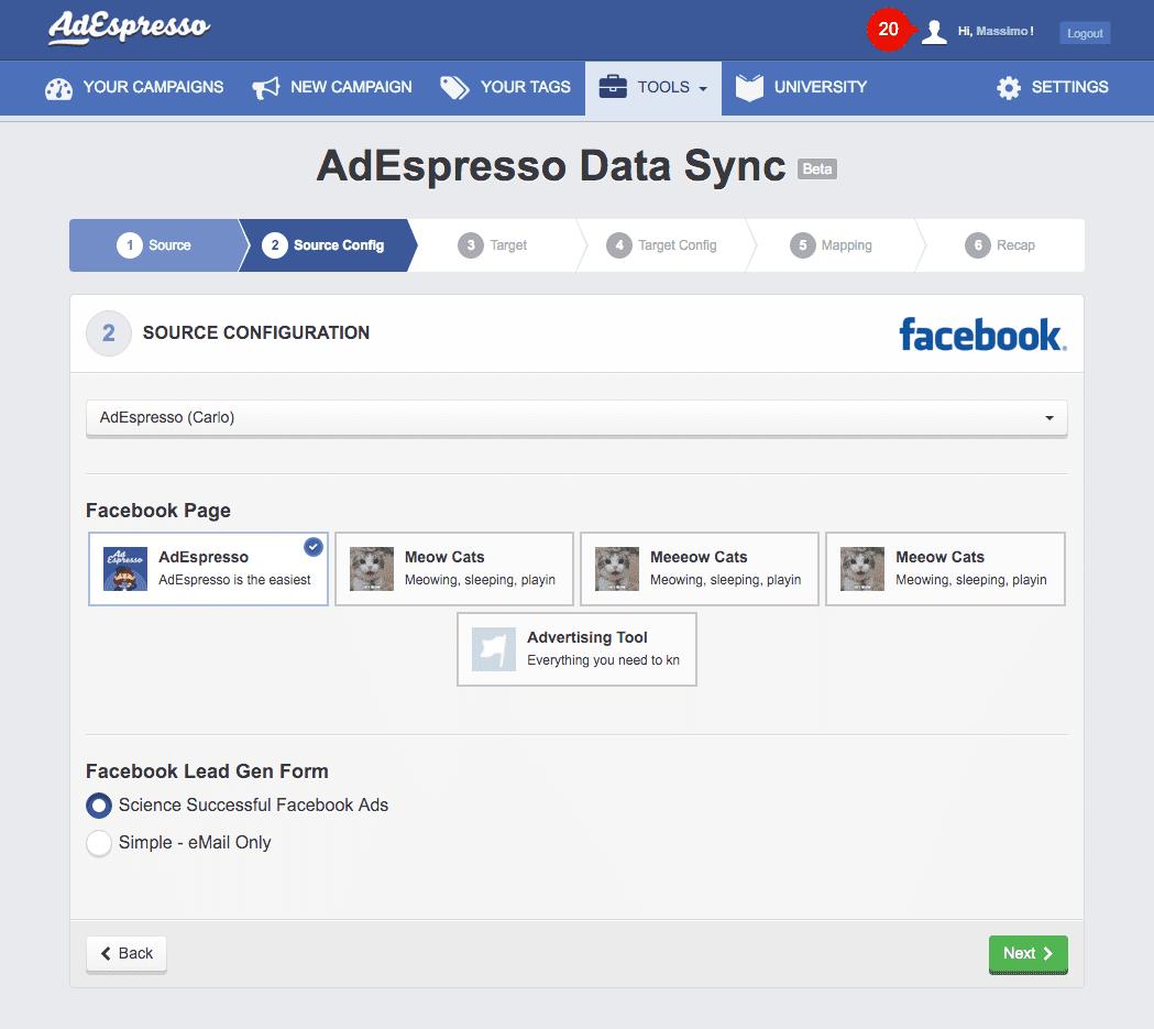 AdEspresso dashboard