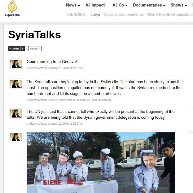 Al Jazeera live blogging