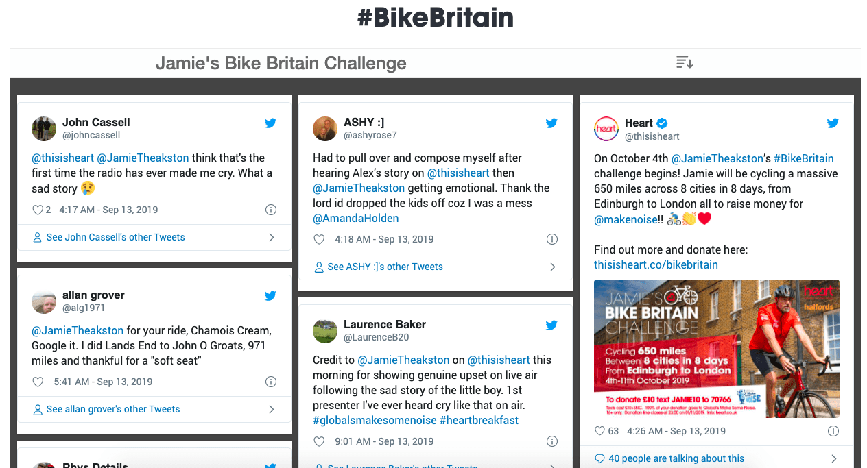 Jamie's Bike Britain social wall