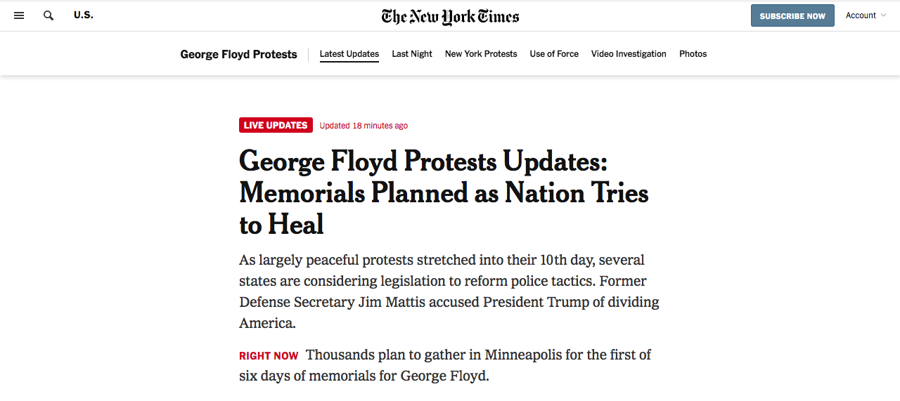 New York Times live blogging on george floyd protests