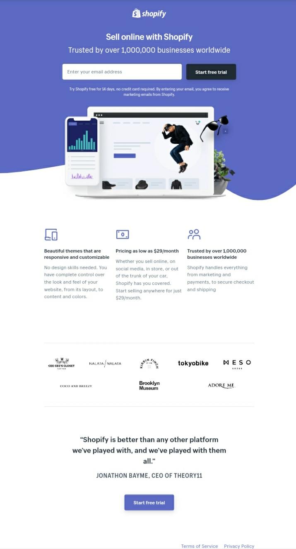 landing page design Shopify