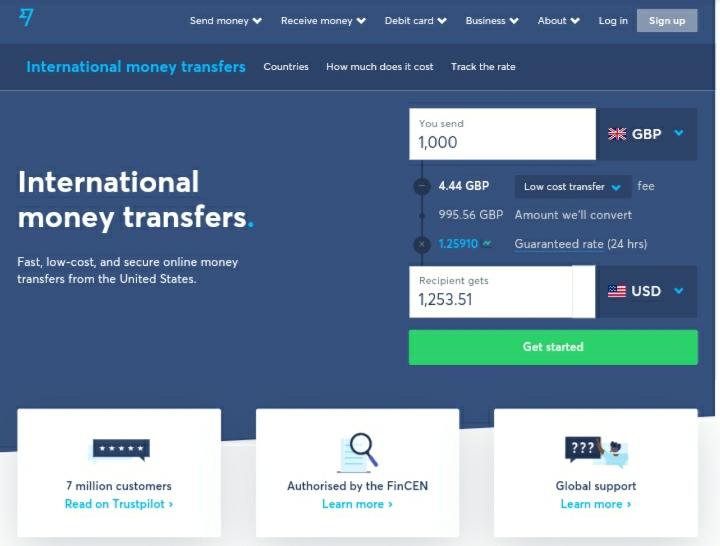 landing page design TransferWise