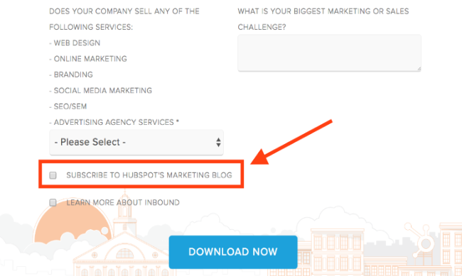 opt-in boxes on landing pages