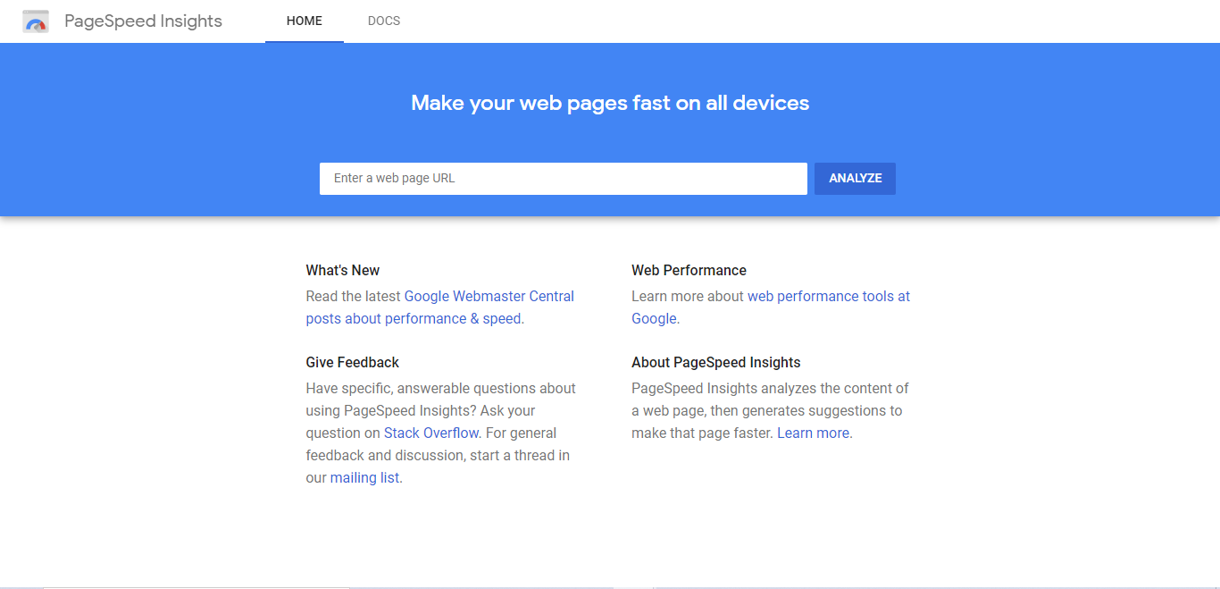 Google Pagespeed insights first page