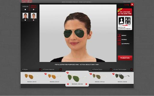 rayban virtual model tester