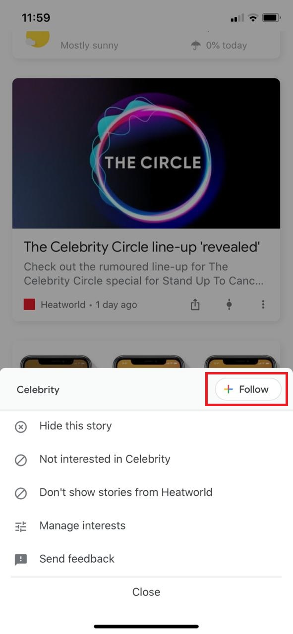 personalize the content on google discover