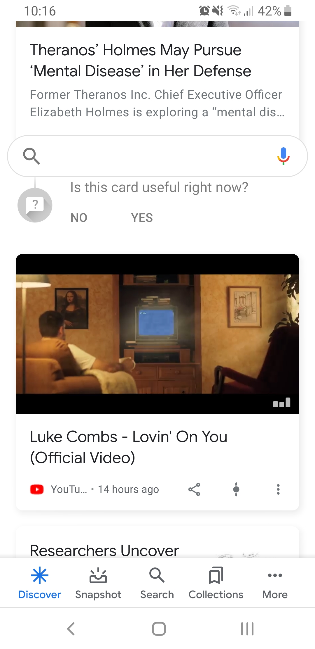 youtube on google discover