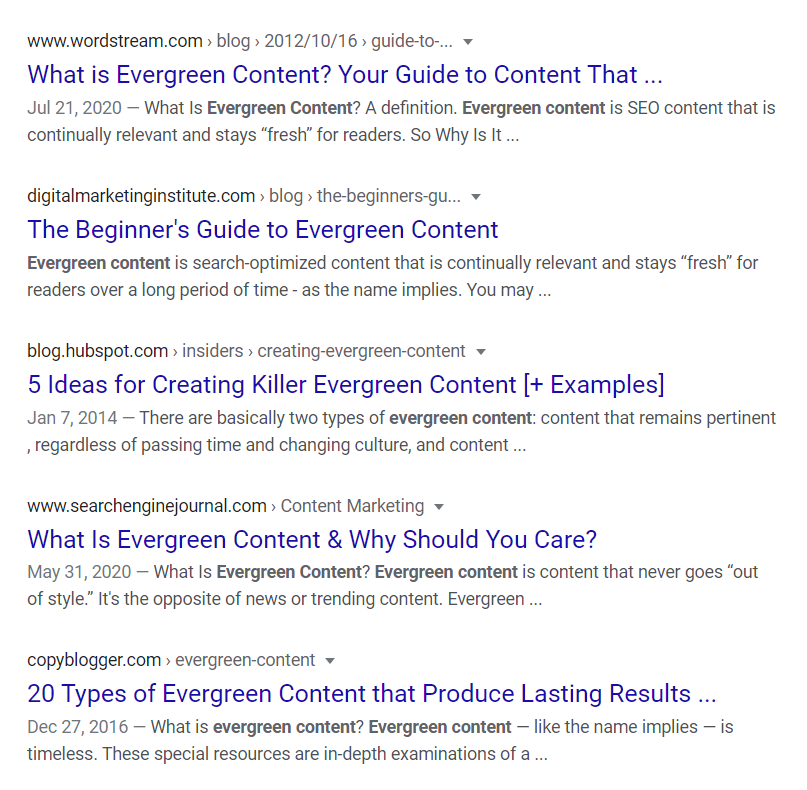 "SERP for ""evergreen content"""