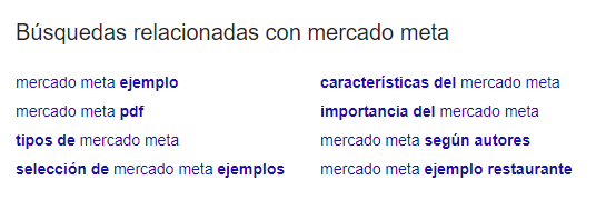 """related searches for """"mercado meta"""""""