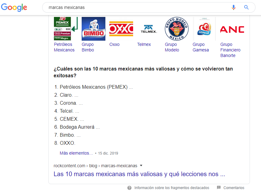 list with value of the most relevant brands in Mexico
