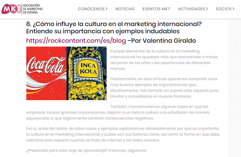 our post was choosen as one of the best in the month by the marketing association of spain