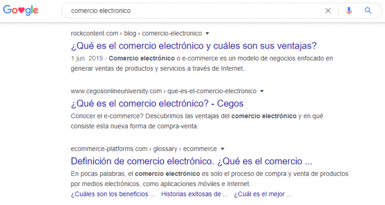1st position for e-commerce in mexico SERP