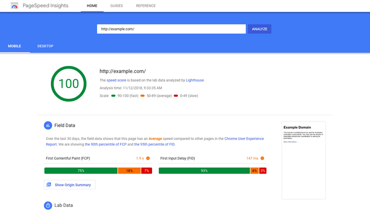 google speed insight