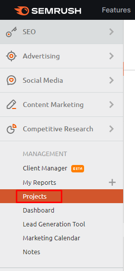 register your project in semrush