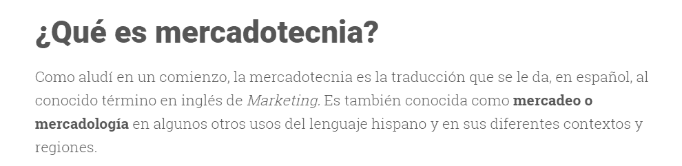 content on marketing, in spanish
