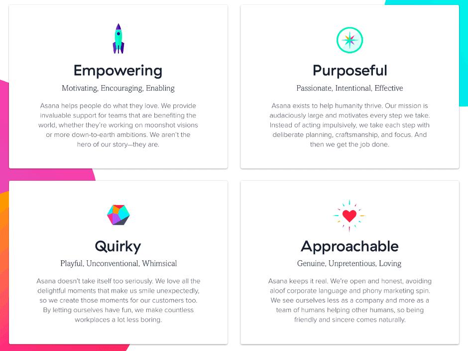 asana's brand attributes