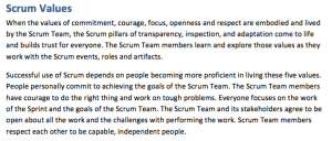 Scrum values from scrum guide