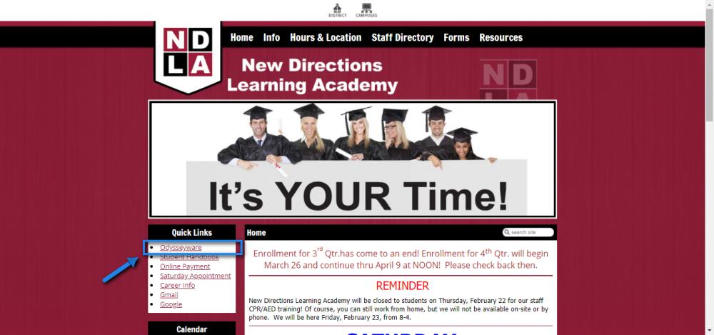 NDLA Homepage Odysseyware