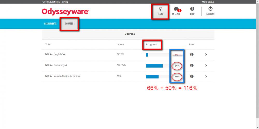 Odysseyware Learn Courses Percentage