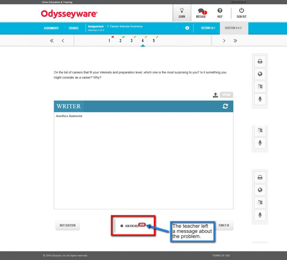 Odysseyware - New Ask For Help Message