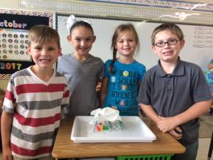 Mrs. Richardson's Class with their shelter!