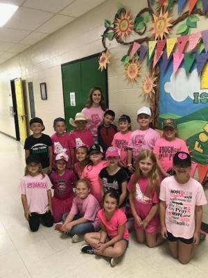 Ms. Colbert's Class on Pink Out Day!!