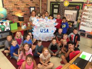 Mrs. Cobb's Class showing off the reasons why they love the USA!