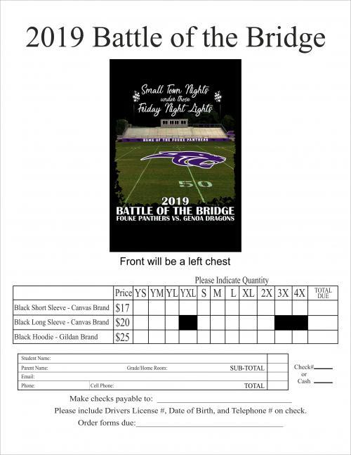 2019 Battle of the Bridge T-Shirt Order Form
