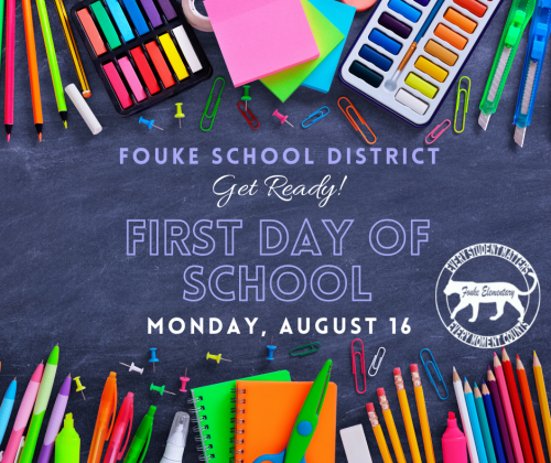 First Day of School Monday, August 16th