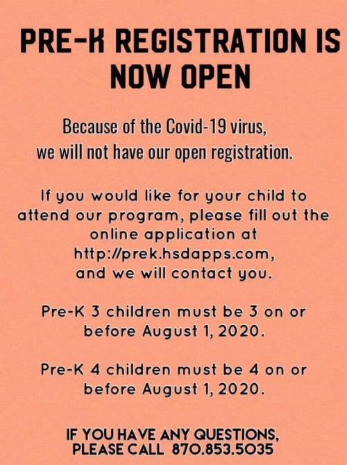 Poster for Pre-K registration