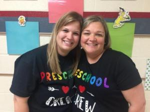 Mrs. Addie and Mrs. Pam are excited about our preschoolers