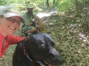 Zach, Ruger, Dixie, and I love to go hiking.
