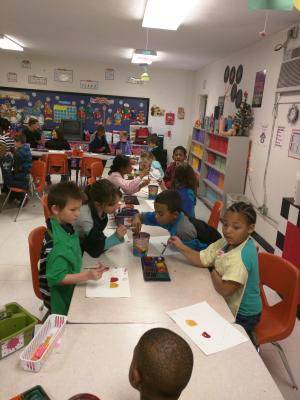 Mrs Schroeder's 2nd grade class painting