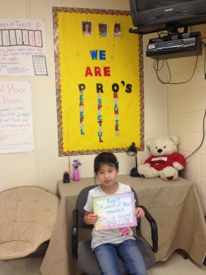 CHLOE - MS. LIGGETT'S STUDENT OF THE MONTH FOR AUGUST!!!